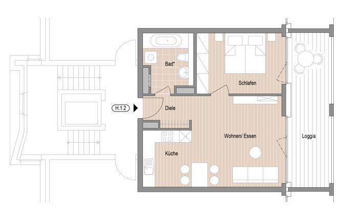 grundriss 2 zimmer wohnung jourdan m ller stadtg rten henninger turm. Black Bedroom Furniture Sets. Home Design Ideas